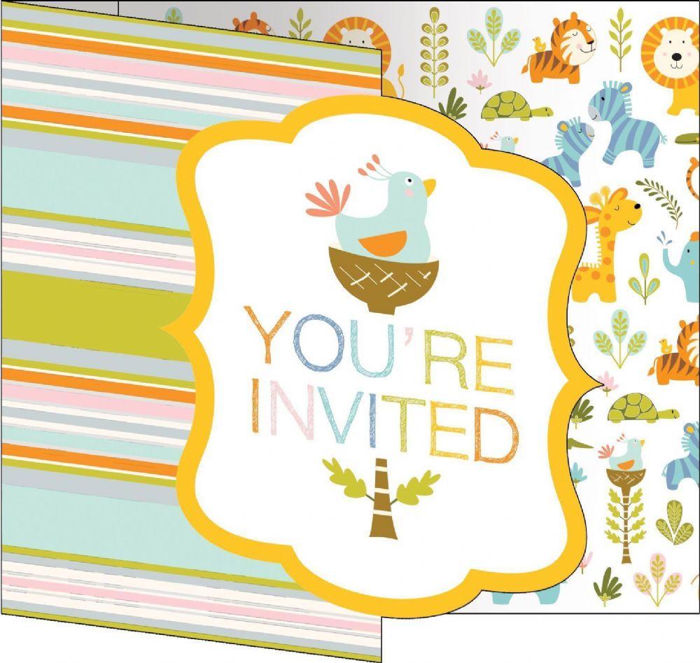 Happi Jungle 1st Birthday 8 Invitations & Envelopes